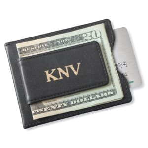 Personalized Wallet - Magnetic Money Clip - Black