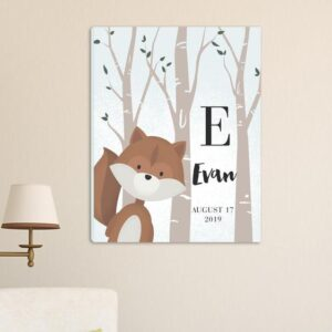 Personalized Woodland Animal Canvas 18″x24″