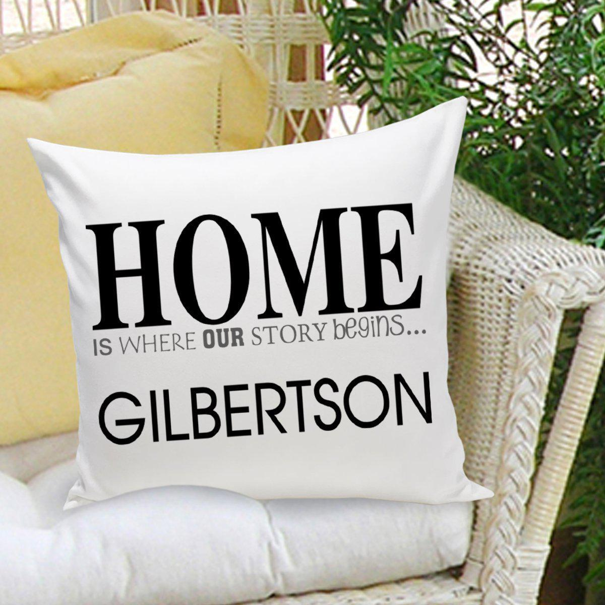 Personalized Couples Throw Pillows - Story Begins