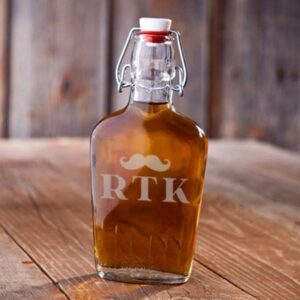 Personalized Glass Flask - Initial Mustache