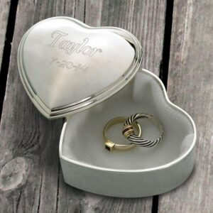 Personalized Keepsake Box – Trinket Box – Engraved – Heart – Silver Plated