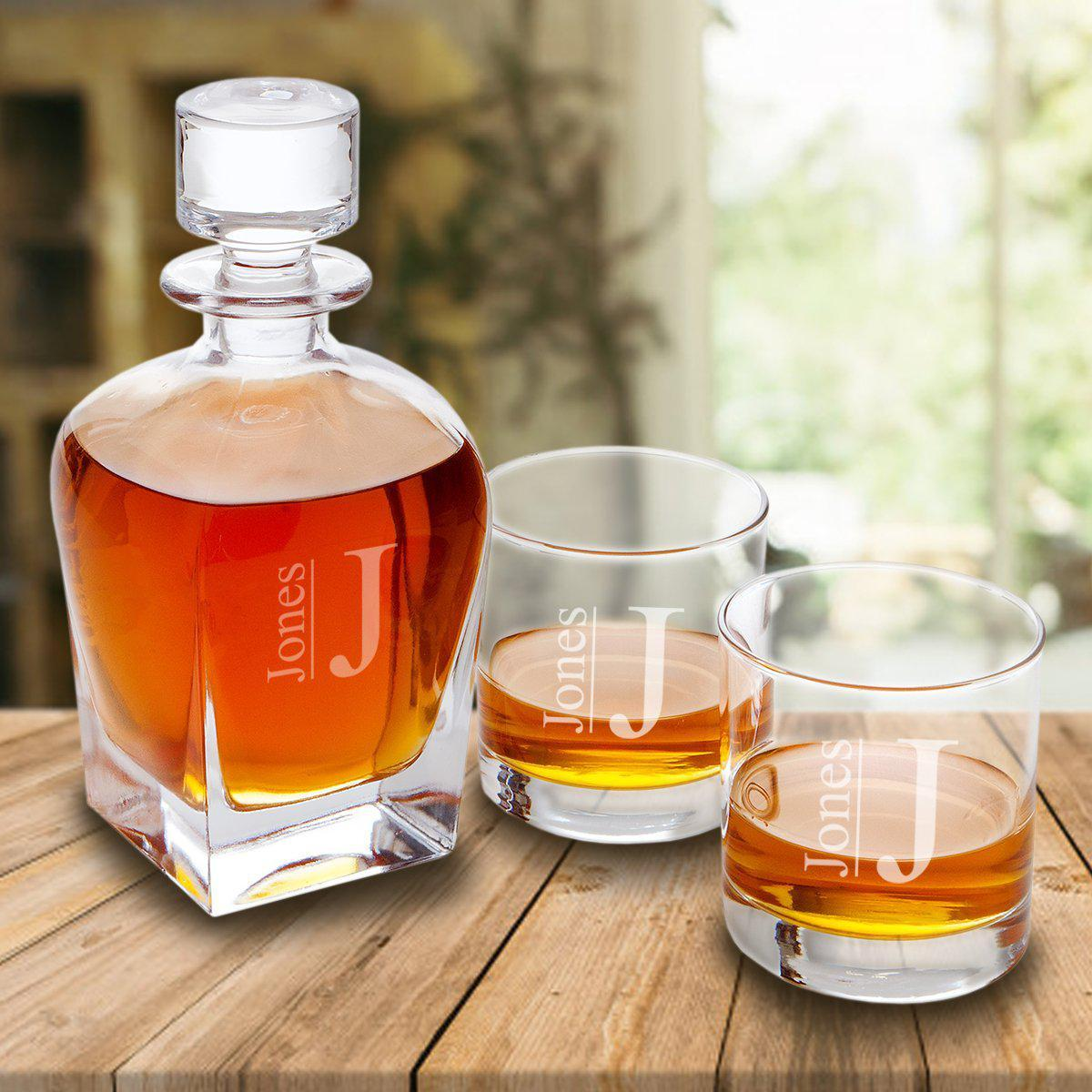 Personalized Antique 24 oz. Whiskey Decanter - Set of 2 Lowball Glasses