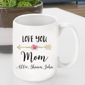 Personalized Ceramic Love You Coffee Mug Mom - Grandma