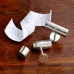 Personalized Cufflinks - Secret Agent - Hidden Note - Monogram