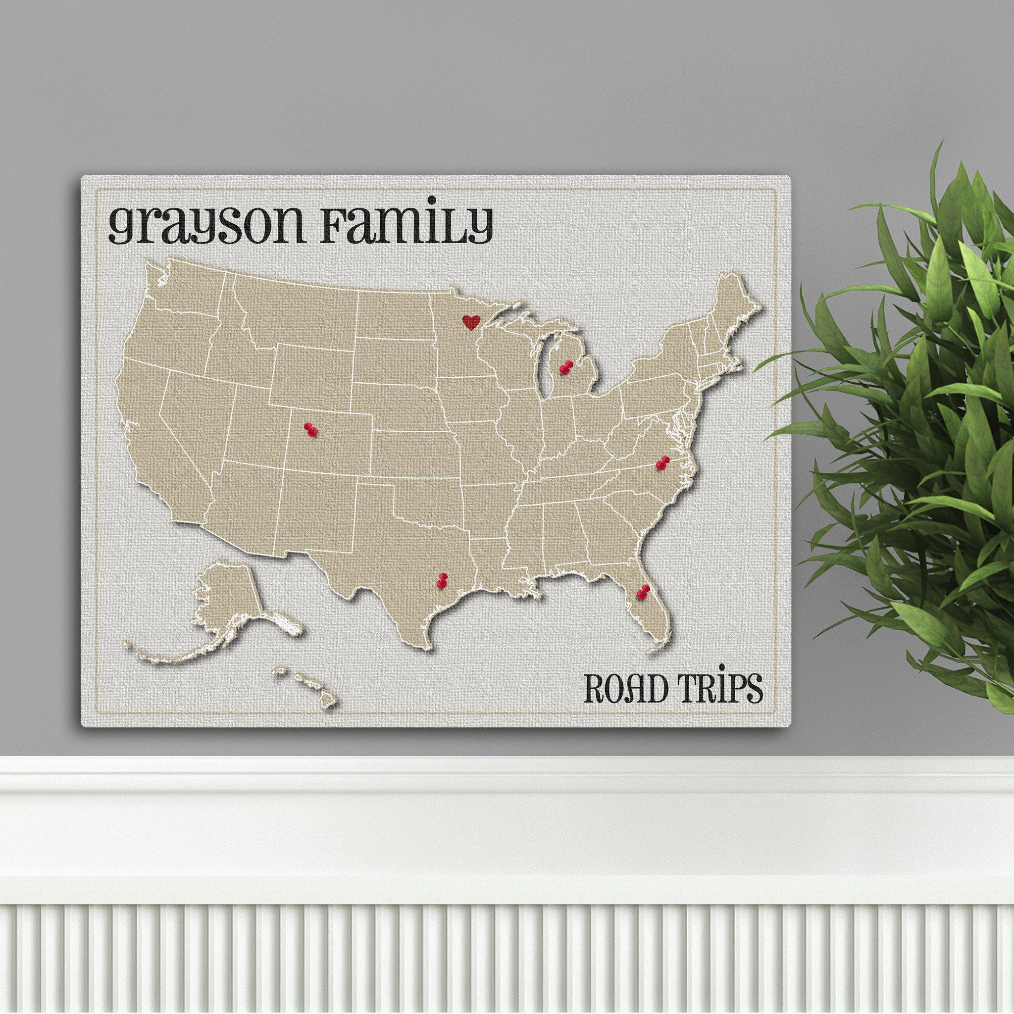 Personalized Family Travel Map Canvas Sign - Heart at Home