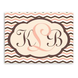 Personalized Baby Pink and Brown Chevron Canvas Sign